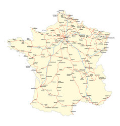 map of the main roads of the french railway vector image