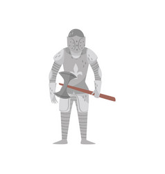 medieval armored knight warrior character with axe vector image
