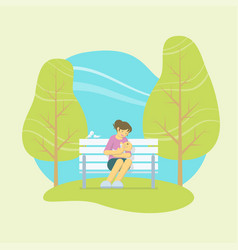 Mother holding baby in a park vector