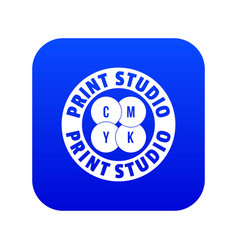 New print studio icon blue vector