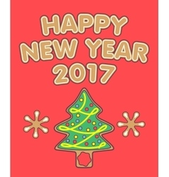 New Year greetings and gingerbread Christmas tree vector image