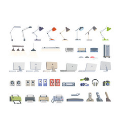 office essentials - modern flat icons set vector image