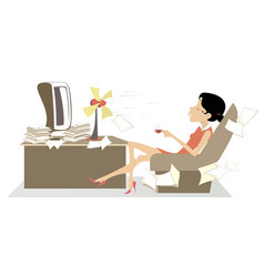 Officewoman table fan and a cup of coffee or tea vector