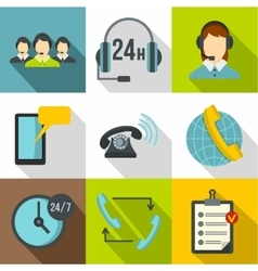 Online consultation icons set flat style vector