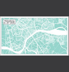 Palembang indonesia city map in retro style vector