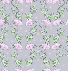 Pink flowers with green leaves on a gray vector