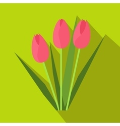 Pink tulips icon flat style vector