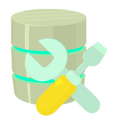 Repairing database icon cartoon style vector