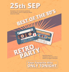 retro disco party poster template colorful flat vector image