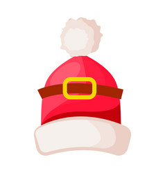 Santa claus hat with buckle isolated on white vector