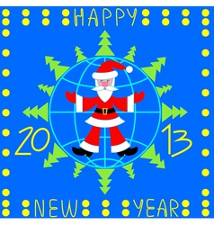 Santa Claus over globe and fir-trees vector image