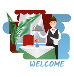 scene with a waiter and table vector image