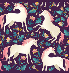 seamless pattern with beautiful unicorns vector image