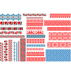 set 30 seamless ethnic patterns for embroidery vector image