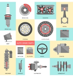 set auto spare parts car repair icons in flat vector image