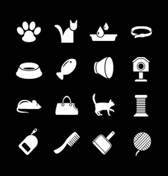 Set icons cats and cat accessories vector