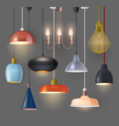 set isolated hanging chandelier or home lamp vector image