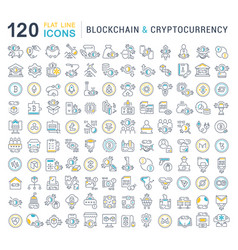 Set line icons blockchain and cryptocurrency vector