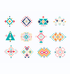 set of ethno tribal aztec symbols colorful vector image