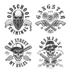 set of gangster emblems vector image