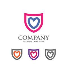 Shield logo with love heart abstract logo vector