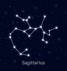 Sign zodiac sagittarius night sky background vector