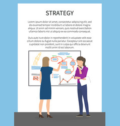 Strategy concept poster with two female business vector