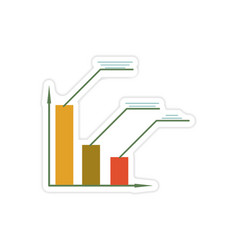 Stylish sticker on paper economic graph on white vector
