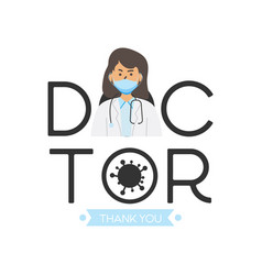 Thank you flat female doctor design eps 10 vector