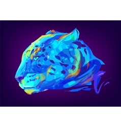 The cute colored jaguar head vector image