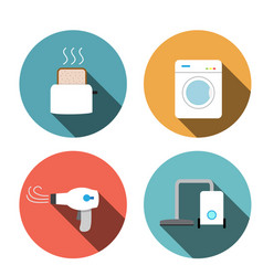 Toaster hair dryer washing vacuum cleaner icons vector