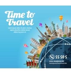 travel to world landmarks on planet journey vector image