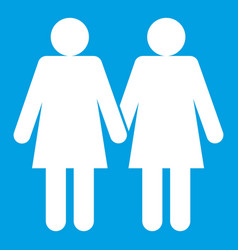Two girls lesbians icon white vector