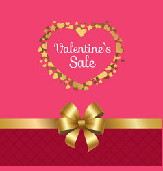 valentines sale poster heart made golden stars vector image