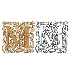 Vintage initial letter m with baroque decoration vector