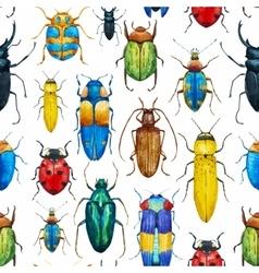 Watercolor bug beetle pattern vector image