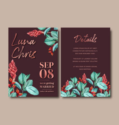 Wedding invitation watercolor design with ginger vector