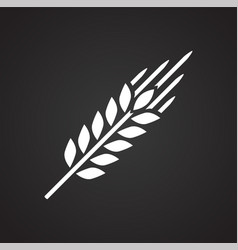 Wheat icon on black background for graphic and web vector