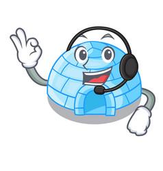 With headphone cartoon ice house igloo on snowing vector