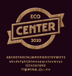 wood logotype eco center vector image