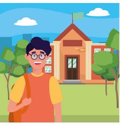 young happy man cartoon vector image