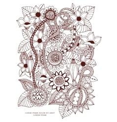 Zentangl card with flowers vector