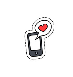 cellphone with love message doodle icon vector image