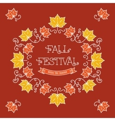 Colorful fall festival template frame maple leaves vector