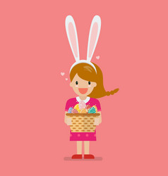 Girl with bunny ears mask holding basket full of vector