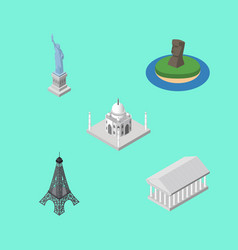 isometric attraction set of india mosque paris vector image vector image