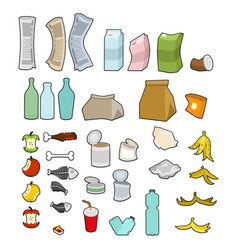 rubbish icon collection garbage set trash sign vector image