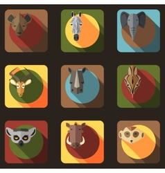 Animal Portrait Set with Flat Design vector image vector image