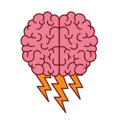 brain in top view with lightnings in colorful vector image