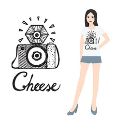Camera icon with woman vector image